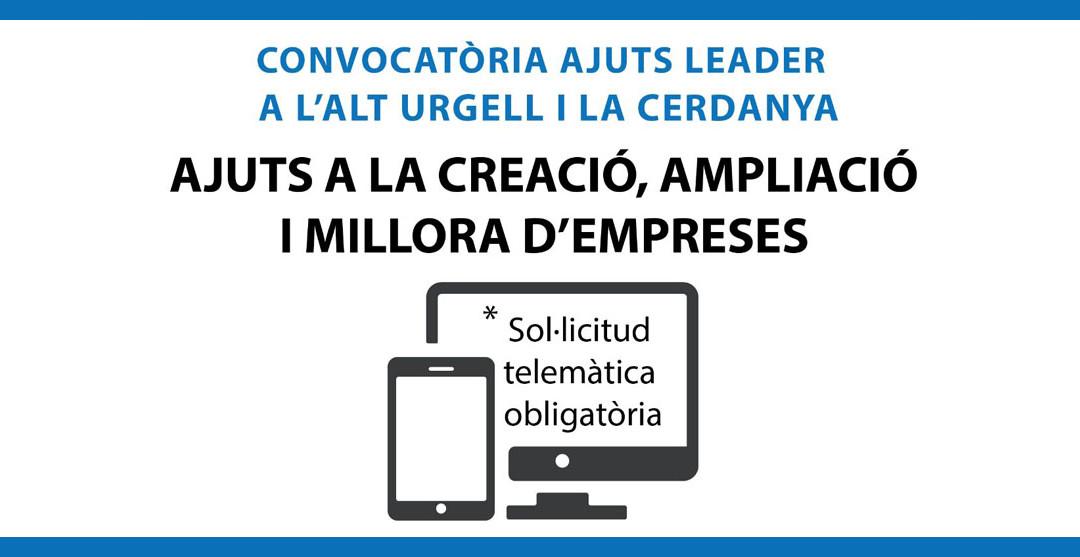 Convocatòria ajuts Leader a l'Alt Urgell i la Cerdanya Ajuts a la creació, ampliació i millora d'empreses